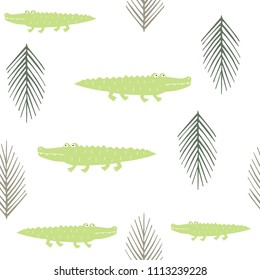 Trendy seamless pattern with palm tree leaves and crocodiles. Modern kids background for fabrics, textile, wrapping papers, wallpapers and clothes. Vector illustration