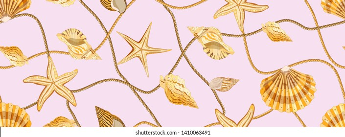 Trendy seamless pattern with seashells. Golden shells, starfish and waves of rope on a pink background. Ornament with sea elements
