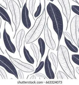 Trendy seamless pattern with tropical leaves. Graphic leaves of mango fruit isolated on white background.Vector illustration for print,textile,wrapping paper.