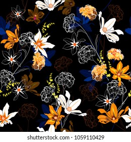 Trendy seamless pattern vector a garden in the night coloful flowers are blooming and gentle mix with outline stoke on black  background,for fashion fabric and all prints