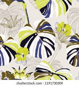 Trendy Seamless pattern vector tropical floral . Modern exotic  jungle and plants illustration in hand drawn style design for fashion,fabric,wallpaper and all prints on light grey background