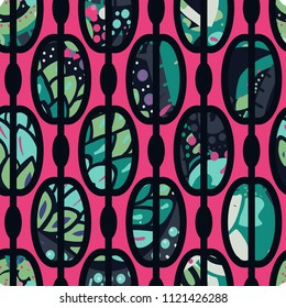 Trendy seamless pattern in vintage style for wallpaper or fabric. The style of the sixties. Modern