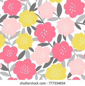 Trendy seamless repeat floral pattern. Vector print with simple modern flowers and leaves in pink, yellow and gray.