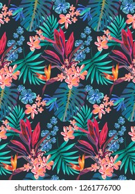 Trendy seamless tropical pattern with plenty of cute little flowers and palm leaves. Exotic fashionable pattern with blue and pink ferns and palms.