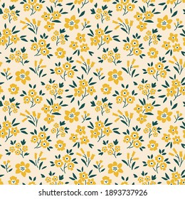 Trendy seamless vector floral pattern. Endless print made of small yellow flowers. Summer and spring motifs. Beige background. Stock vector illustration.