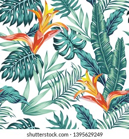 Trendy seamless vector pattern tropical composition exotic blue leaves and orange flowers on the white background. Summer realistic wallpaper