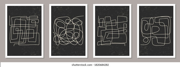 Trendy set of abstract aesthetic creative minimalist artistic hand drawn composition ideal for wall decoration, as postcard or brochure design, vector illustration