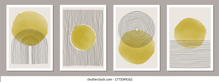 Trendy set of abstract creative minimal artistic hand painted compositions ideal for wall decoration, as postcard or brochure design, vector illustration