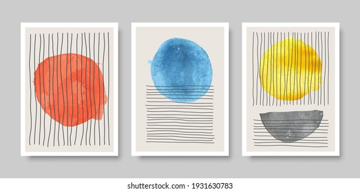 Trendy set of abstract creative minimal artistic hand painted compositions ideal for wall decoration, as postcard or brochure design, vector illustration.