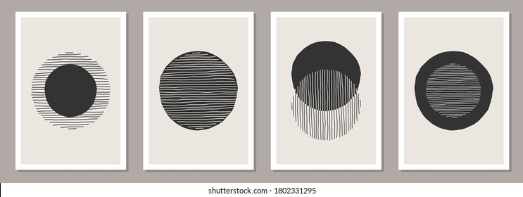 Trendy set of abstract creative minimalist artistic hand drawn compositions ideal for wall decoration, as postcard or brochure design, vector illustration