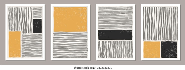 Trendy set of abstract creative minimalist artistic hand drawn composition ideal for wall decoration, as postcard or brochure design, vector illustration