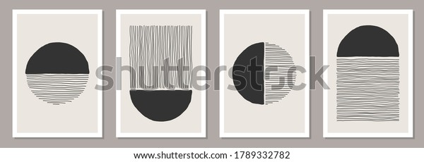 Trendy set of abstract creative minimalist artistic hand painted composition ideal for wall decoration, as postcard or brochure design, vector illustration