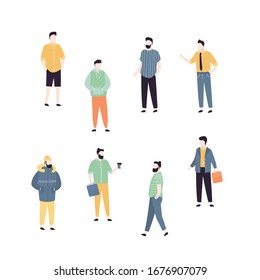 Trendy set of cool men. Stylish adults in different fashionable clothes. Handsome male characters isolated on white background. Collection of business and casual outfits for men. Vector illustration