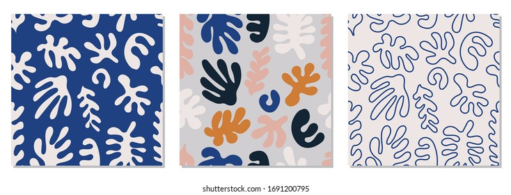 Trendy set of seamless pattern with abstract organic cut out Matisse inspired shapes in neutral colors, vector illustration, ideal for modern interior design