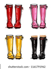Trendy shoes: red, black, yellow and pink rubber wellies or high boots. Modern hipster shoe for either season.