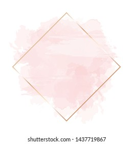 Trendy simple flat lay design vector background. Golden line art, watercolor style pink texture splash.Delicate blush color card.Painted handdrawn spot.Elegant decoration detail. Isolated and editable