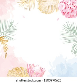 Trendy simple flat lay design vector square background. Pink hydrangea, king protea, palm leaves, golden shimmer monstera, watercolor style coral and blue texture. Spring card. Isolated and editable