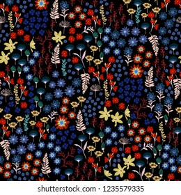 Trendy small coloful liberty many kind of Wild flowers pattern. Hand drawn meadow Floral Seamless vector design for fashion,fabric wallpaper and all prints on black background color