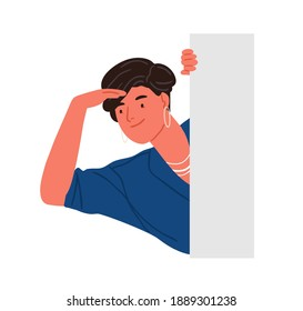 Trendy smiling woman peeping from behind wall vector flat illustration. Stylish positive female character searching or seeking something isolated on white. Adorable person peeking.