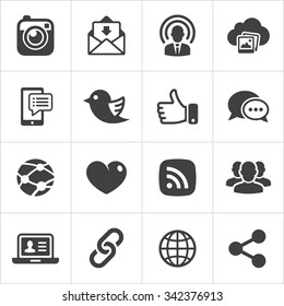 Trendy social network icons set Vector illustration