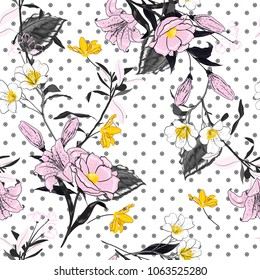 Trendy and softy blooming light pink flowers  seamless pattern vector on pollka dots on white background for fashion fabric and all prints in hand drawn style.