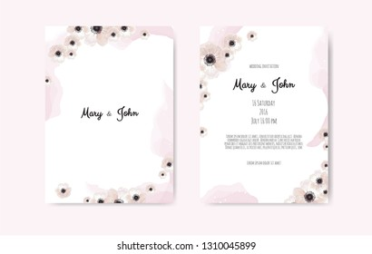 Trendy spring flowers vector invitation templates. Watercolor paint textured petals background.