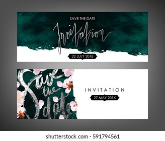 Trendy spring flowers vector invitation templates. Watercolor paint textured petals background. Soft velvet, blossom plum tree and shabby gold textures.