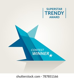 Trendy Star Shaped Vector Award. Turquoise Version
