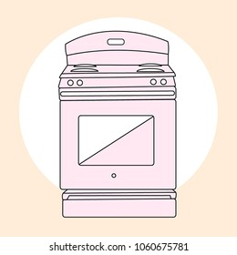 Trendy stove simple vector illustration