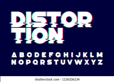 Trendy style distorted glitch typeface, vector illustration