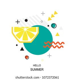 Trendy style geometric pattern with lemon, vector illustration with line elements and abstract geometric figures. Design background