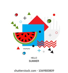 Trendy style geometric pattern with watermelon, vector illustration with line elements and abstract geometric figures. Design background