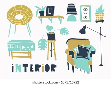 Trendy style interior. Hand drawn vector set. All elements are isolated