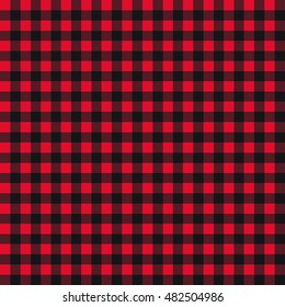 Trendy Style Lumberjack Flannel Plaid Pattern in Red&Black Buffalo Check. Vector EPS10