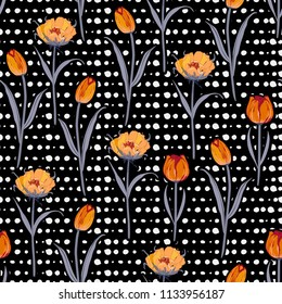 Trendy stylish Seamless hand drawn pol kadots  pattern with blooming tulip flowers background. Vector summer design for fashion fabric and all prints on black color