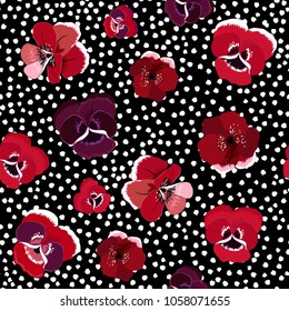 Trendy stylish Seamless red floral pattern with blooming flowers  on hand drawn white polka dot background. Vector summer design.for fashion fabric and all prints on black  color