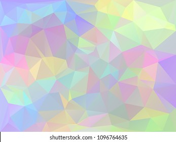 Trendy stylized iridescent polygons, abstract holographic background.