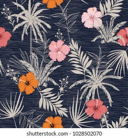 Trendy summer Hawaii print vector seamless beautiful artistic Bright  tropical pattern with exotic forest. Colorful  stylish floral hibiscus mix with leaves  background , on texture blue