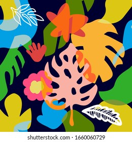 Trendy summer print. Seamless pattern with abstract overlapping shapes. Colorful leaves and flowers on dark background. Swimwear textile collection.