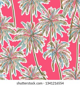 Trendy Summer seamless coloful hand drawn palm trees ,sihouette pattern on summer pink background. Landscape pattern,vector design for fashion,fabric,web,wallpaper and all pirnts