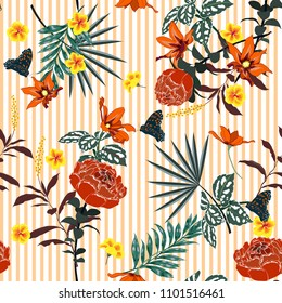 Trendy summer Seamless garden gentle blooming flowers  pattern on orange and white stripes. Leaves  illustration. Modern graphics. blooming floral,for fashion fabric and all prints hand drawing style