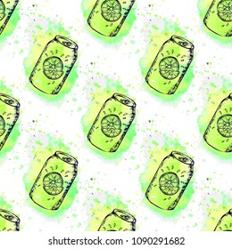 Trendy summer seamless pattern with hand drawn sketch beverages on watercolor texture. Textile and wallpaper background, surface food pattern.