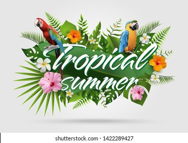 Trendy Summer Tropical Flowers, Leaves, Macore bird. T-shirt Fashion Graphic. Exotic Vector Design