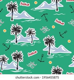 Trendy Summer Tropical Island and Hand sketch doodle style seamless pattern,Design for fashion , fabric, textile, wallpaper, cover, web , wrapping and all prints on summer green
