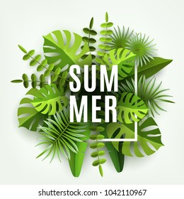 Trendy Summer Tropical Leaves and Plants. Green abstract background with tropical foliage. Cut paper. Vector Design