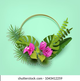 Trendy Summer Tropical Leaves, Plants and Flowers Bougainvillea. Abstract background with tropical foliage. Decorative flowerpots. Cut paper. Vector Design