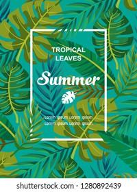 Trendy Summer Tropical Leaves Vector Design.