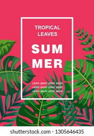 Trendy Summer Tropical Leaves Vector Design. Exotic flovers.