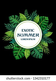 Trendy Summer Tropical Leaves Vector Design. Exotic flovers.  Invitation card.