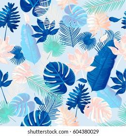 Trendy Summer Tropical Leaves Vector Design